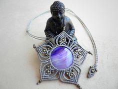 macrame MANDALA necklace. Spiritual jewelry. AGATE. Bohemian jewelry. Healing Jewelry.