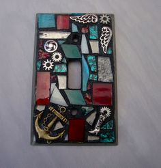 Steam punk Mosaic Switch plate Mixed media Single Toggle by zzbob,