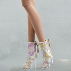 1//6 Barbie Doll Similar Bright Pink Floral Peep toe Hi Heels Shoes