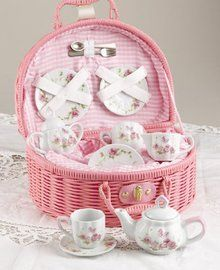 Delton Pink Rose Tea Set for 2. Available at OurPamperedHome.com