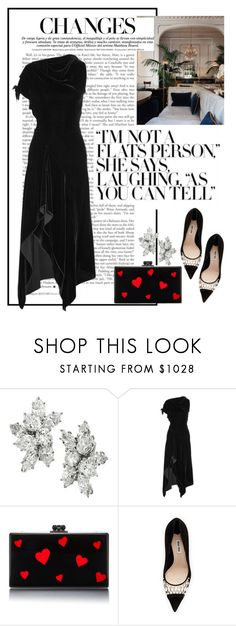 """Untitled #316"" by louis-duong ❤ liked on Polyvore featuring Harry Winston, Roland Mouret, Edie Parker and Miu Miu"