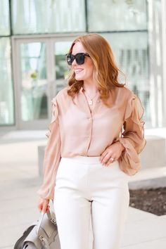 Work Neutral Look For Now And Later - Oh What A Sight To See Summer Work Wear, Neutral Outfit, Summer Feeling, White Pants, Work Pants, Wool Coat, Workwear, New Look, Summer Outfits