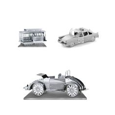 Set of 3 Metal Earth 3D Laser Cut Model Kits: Checker Cab - Beach Buggy - San Francisco Cable Car