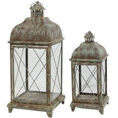 Armand Carriage Candle Lanterns Square Large Set of 2  Glass panel *** Want additional info? Click on the image.