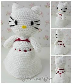 Patrón gratis / Free pattern Doll Patterns Free, Amigurumi Patterns, Amigurumi Doll, Crochet Dolls, Crochet Baby, Free Crochet, Hello Kitty Wedding, Hello Kitty Crochet, Afghan Patterns