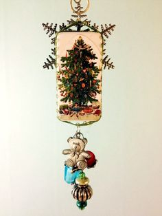 altered domino vintage style Christmas ornament handmade domino art