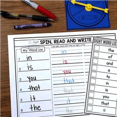 Sight word activity - spin, read and write your sight word using a marker, crayon or pencil Sight Words List, First Grade Sight Words, Sight Word Games, Sight Word Activities, Sight Word Sentences, Teaching Sight Words, Guided Reading Lessons, Math Lessons, Kindergarten Special Education