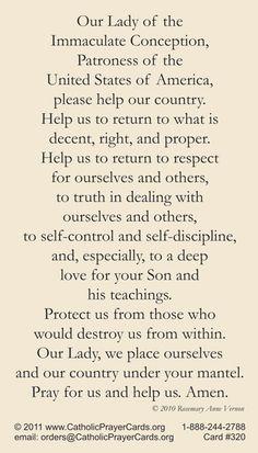 Prayer for America Prayer Card - Catholic Artwork