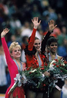 1988 Winter Olympics: Canadian Elizabeth Manley (silver) ; East German Katharina Witt (gold) and American Debbie Thomas (bronze)