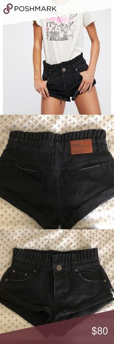 Free people Le Bandits Black jean only wore once, perfect condition Free People Shorts Jean Shorts