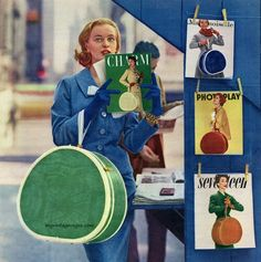 "Samsonite ""Cover Girl"" Hat Box 1956 - Model Anne Klem"