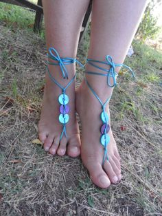 Wedding Barefoot Sandal Barefoot sandal blue by JasmneAccessores, $15.00