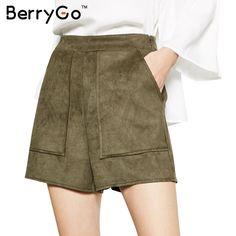 BerryGo Fashion suede high waist shorts Women autumn winter 2016 black short femme Elegant army green pocket zipper shorts