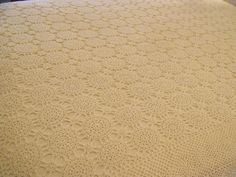 Cream Off White Cotton Crocheted Table Cloth 66x88 BOHO Cozy Cottage Chic