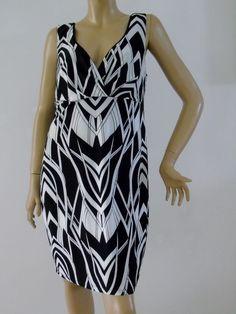 Ruby Rox USA Women Plus Sz 2X Black & White Stretch Dress Sleeveless Geometric  #RubyRox #Blouson #Casual