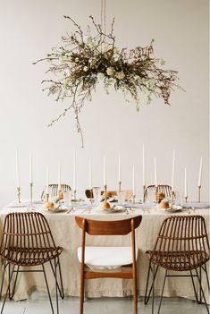 hanging floral centerpiece, donut cake, vintage wedding inspiration