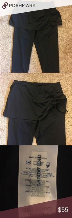 ❣️ENDING❣️BN Lands' End Black Swim Crop Leggings L NWOT Lands' End cropped swim leggings in slimming black. Has a flattering attached skirt with an adjustable side tie for ruching skirt as much or little as you want. Purchased BN full price & removed from plastic packaging but never wore. Please note I've selected NWT to denote newness but these came in a plastic bag & had no tags, so no tags will be included.  Listing quickly along with other items to help with vet bills; happy to answer…