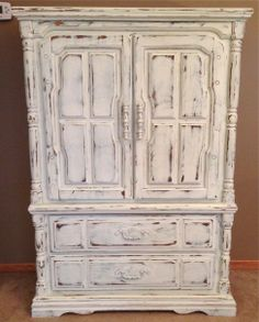 {Shabby Chic Armoire} Painted With Annie Sloan Chalk Paint Old White With  Duck Egg