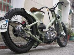 Custom Honda Cub 90... the manliest moped ever. OK, that's faint praise, but it's still pretty darn cool.