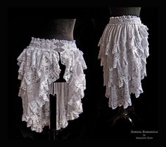 Bustle skirt white lace, IN STOCK, S-XS, victorian, burlesque, bridal, wedding, Somnia Romantica by Marjolein Turin $122.37