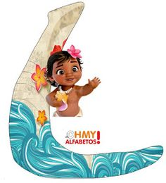 Bello Alfabeto de Moana Bebé. Barney Birthday Party, Moana Birthday Party, Moana Party, Birthday Party Tables, 2nd Birthday, Moana Disney, Disney Princess, Festa Moana Baby, Letters And Numbers