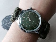 15% OFF! Upcycled Vostok Vintage Mechanical Watch, Green, Rare 2 O'clock Dial Position w/ 6 Tritium Beads.