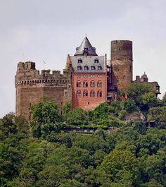 "Schönburg,   above Oberwesel, Rhineland-Palatinate, Germany.  http://www.castlesandmanorhouses.com/photos.htm  Schönburg (""beautiful castle"") is a UNESCO World Heritage site in the Upper Middle Rhine Valley. The castle was first mentioned in  the year 911."