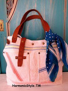 02. Grainsack  bag/rare handmade grainsack handbag/ grainsack shoulder bag/repurposed antique grainsack/limited edition/flax linen bag