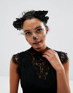 Buy ASOS Halloween Faux Leather Floral Garland Headband at ASOS. Get the latest trends with ASOS now. Costume Halloween, Cool Halloween Makeup, Pretty Halloween, Halloween 2017, Day Of The Dead Costume Dress, Maquillage Sugar Skull, Halloween Outfits For Women, Dead Makeup, Sugar Skull Makeup