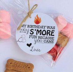 A unique way to package S'mores for a party favor. If you don't have a Silhouette, you can make something similar for your party with Avery printable tags and free designs. Bonfire Birthday, Cowgirl Birthday, Birthday Favors, 3rd Birthday Parties, Birthday Ideas, Camping Parties, Camping Party Favors, Camping Theme, Party Favor Tags