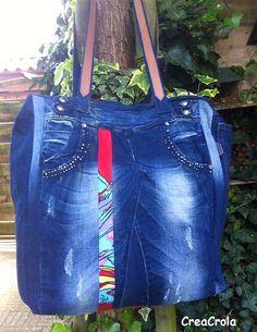 Van jeansbroeken een grote jeansshopper gemaakt: ALLES kan mee! www.creacrola.nl