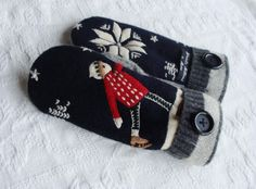 Handcrafted Sweater Mittens Vintage Skater by miraclemittens, $38.00