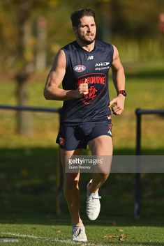 Jesse Hogan of the Demons runs laps during a Melbourne Demons AFL training session at Gosch's Paddock on June 20, 2017 in Melbourne, Australia.