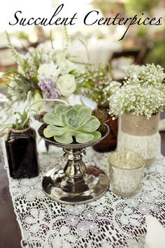 DIY or Don't!: {Wedding Wednesday} The Lawyer Wedding - Succulents! (note: baby's breath bouquet)