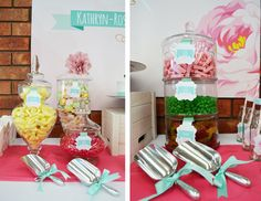 Birthday Party Backdrop and Candy Buffet for a girl. 18th Birthday Party, Birthday Ideas, Lolly Jars, Party Themes, Party Ideas, Party Entertainment, Backdrops For Parties, Candy Buffet, Childrens Party