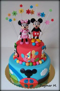 Cake for my love with mickey mouse and minnie mouse , mickey mouse clubhouse