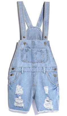 Light Blue Ripped Pockets Denim Rompers for US$24.59 at Sheinside. dangan rompers