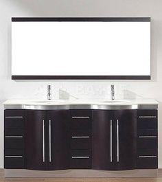 """Bathroom Vanity Zebra Wood bianca 42"""" wall-mounted modern bathroom vanity - zebrawood"""