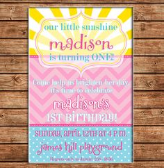 You are My Sunshine Sun Clouds Birthday by ohsuzyqdesigns on Etsy, $13.50