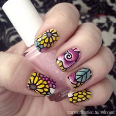 Graphic floral nail art