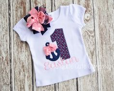 GIrls Custom Nautical Anchor Birthday Shirt- Personalized with Name and Bow in Navy and Pink