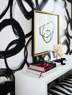 62 creative walls paint ideas - interesting techniques - Making Furniture yourself DIY Creative Wall Painting, Creative Walls, Creative Ideas, Bureau Design, Black Picture, Picture Wall, Art Background, Premium Wordpress Themes, Painting Techniques