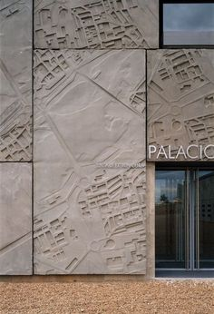 Image result for Nieto Sobejano - Merida auditorium and conference center, Merida 2004 (click images for big). The concrete facade is imprinted with maps of ancient walled cities. Photos (C) Roland Halbe.