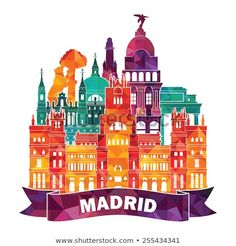 Find Madrid Skyline Vector Illustration stock images in HD and millions of other royalty-free stock photos, illustrations and vectors in the Shutterstock collection. Thousands of new, high-quality pictures added every day. Madrid Skyline, Madrid City, Skyline Art, Real Madrid, Travel Crafts, City Icon, Travel Icon, City Illustration, World Cities