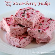 Super Easy Strawberry Fudge - Super-easy to make, super-yummy to eat, this sweet and fruity Strawberry Fudge is perfect for Valentine's Day or any day!