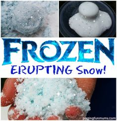 Frozen Erupting Snow! An awesome sensory activity for your little Frozen fans! | Disney Party | Disney Party Ideas | Frozen Activites | Frozen Party |