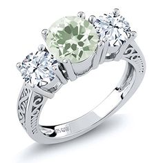 210 Ct Round Green Amethyst White Topaz 925 Sterling Silver 3Stone Ring -- Want to know more, click on the affiliate link Amazon.com.