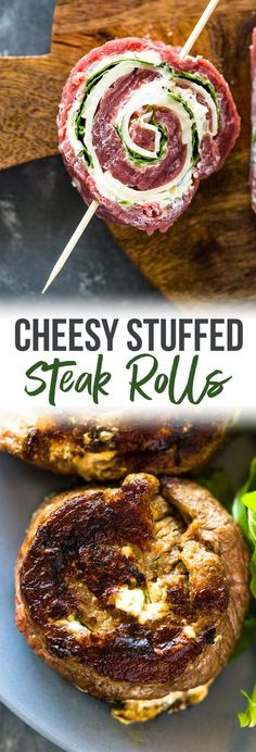 Pan Grilled butterflied Flank Steak stuffed with spinach, garlic, and cheese. These delicious steak pinwheel rolls are tender and cheesy an. Flank Steak Tacos, Flank Steak Rolls, Steak Roll Ups, Marinated Flank Steak, Stuffed Flank Steak, Stuffed Steak Rolls, Beef Roll, Skirt Steak Recipes, Flank Steak Recipes