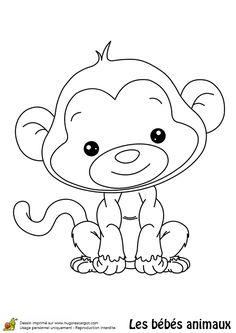 Tu feras la connaissance d'un bébé singe tout souriant dans ce coloriage