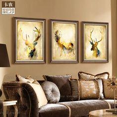 Канон твердой древесины золотой лист рамка подлинный американский стиль гостиной прихожей росписи росписи с рамки картины павлин декоративной живописи